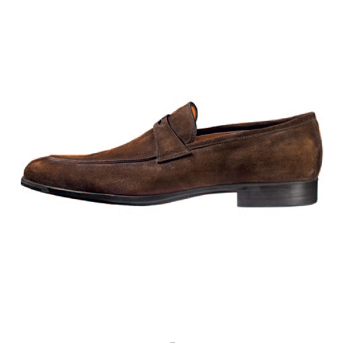 Santoni Jacob Suede Penny Loafers Brown Image