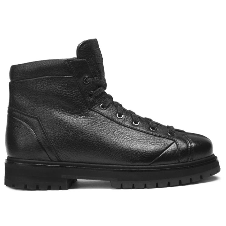 Santoni Mountain RO01 Deerskin Boots Black Image