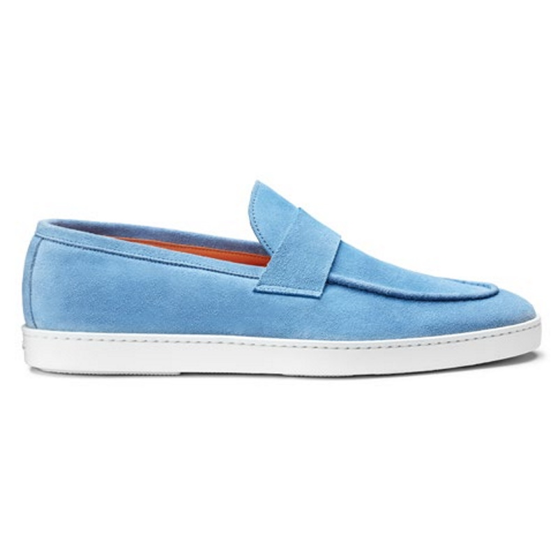 Santoni Pace Suede Slip On Light Blue Image