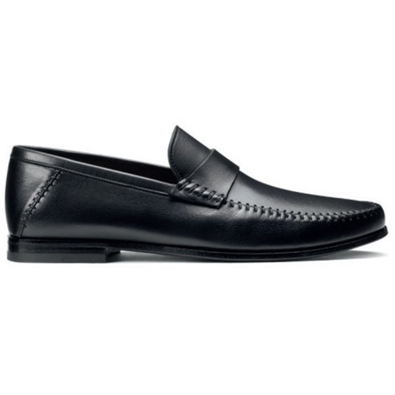 Santoni Paine M1 Penny Loafer Shoes Black Image
