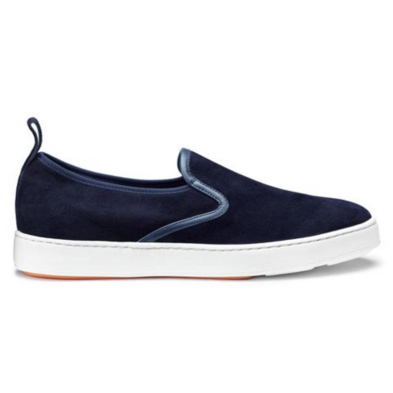 Santoni Panel Suede Sneakers Blue Image