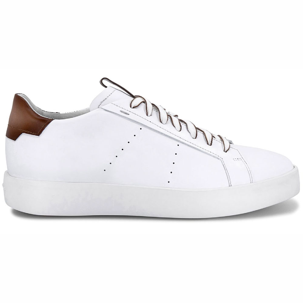 Santoni Part Calfskin Sneakers White/Brown Image