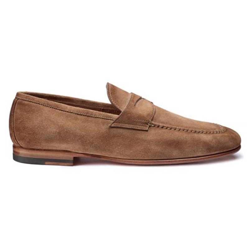 Santoni Perfect Suede Loafers Tan Image