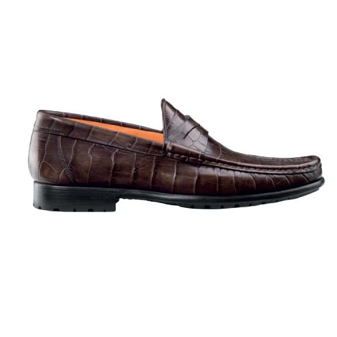 Santoni Quint C Side Croc Embossed Loafers Dark Brown Image