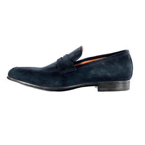 Santoni Skip Suede Penny Loafers Blue Image
