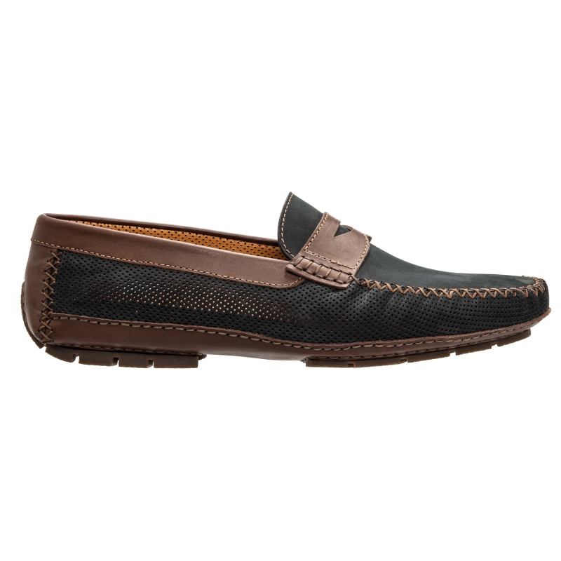 Stemar Amalfi Perforated Driving Loafers Black / Brown Image