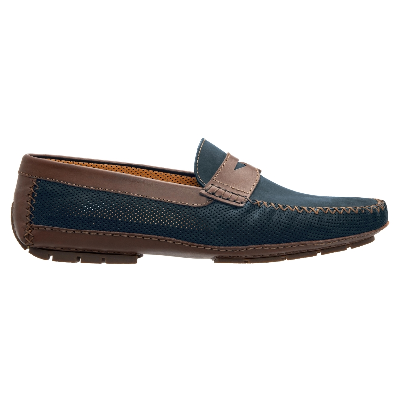 Stemar Amalfi Perforated Driving Loafers Navy / Brown Image