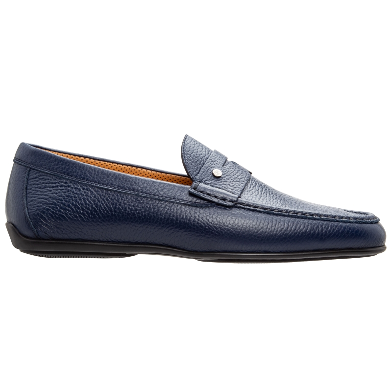 Stemar Bologna Grained Calfskin Loafers Blue Image