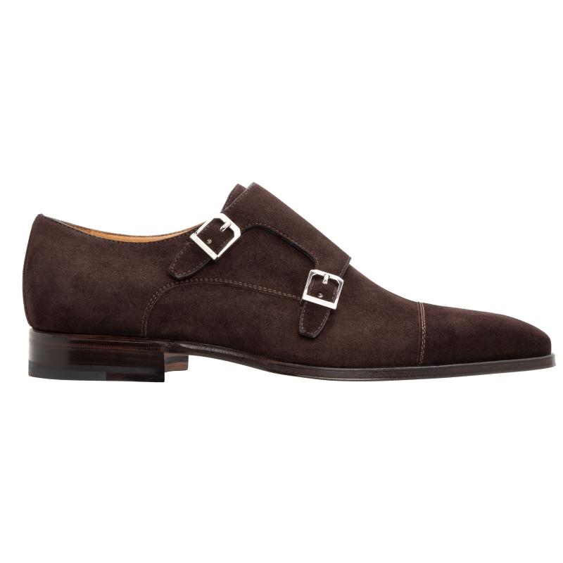 Stemar Genova Suede Double Monk Strap Dark Brown Image
