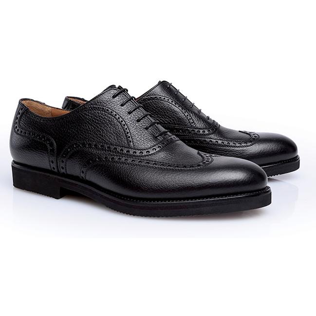 Stemar Merano Grained Calfskin Wingtip Shoes Black Image