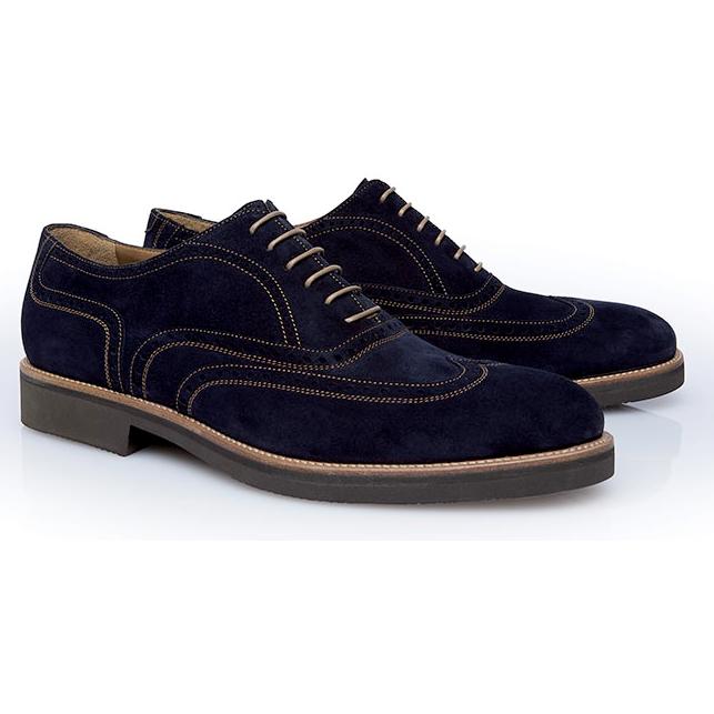 Stemar Merano Suede Wingtip Shoes Blue Image