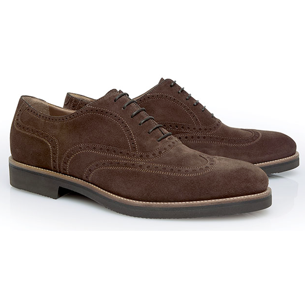 Stemar Merano Suede Wingtip Shoes Chocolate Brown Image