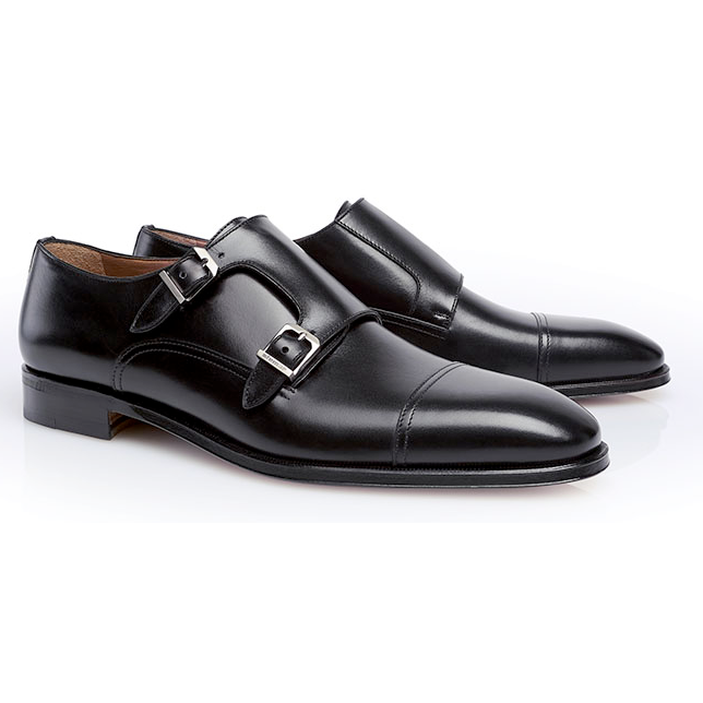 d87fab93e1933 Stemar Modena Double Monk Strap Shoes Black