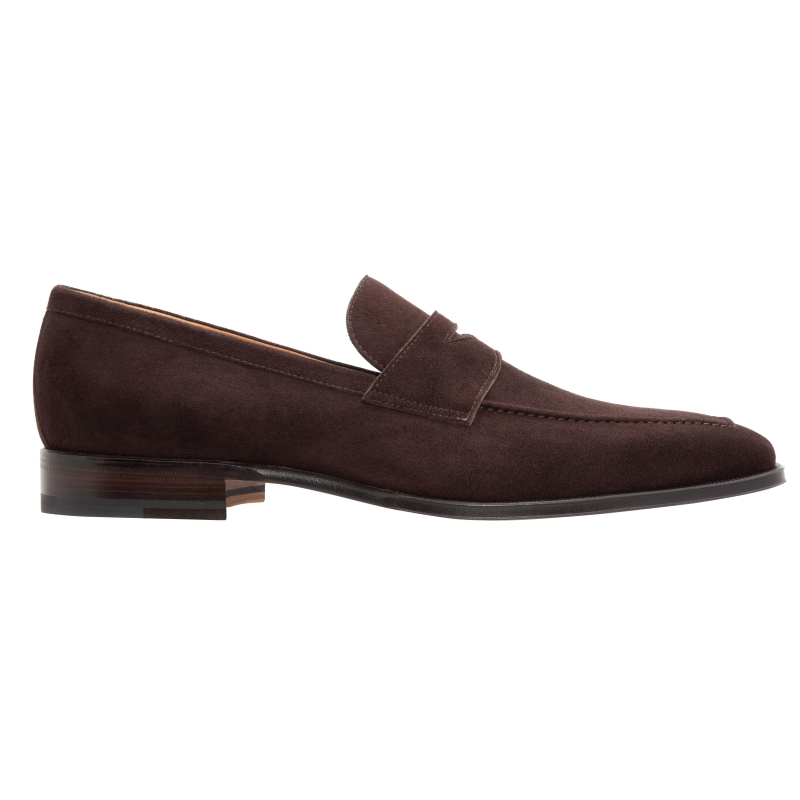 Stemar Napoli Suede Penny Loafers Dark Brown Image