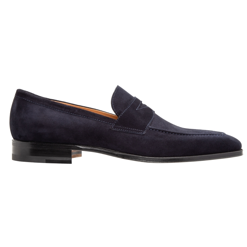 Stemar Napoli Suede Penny Loafers Navy Image