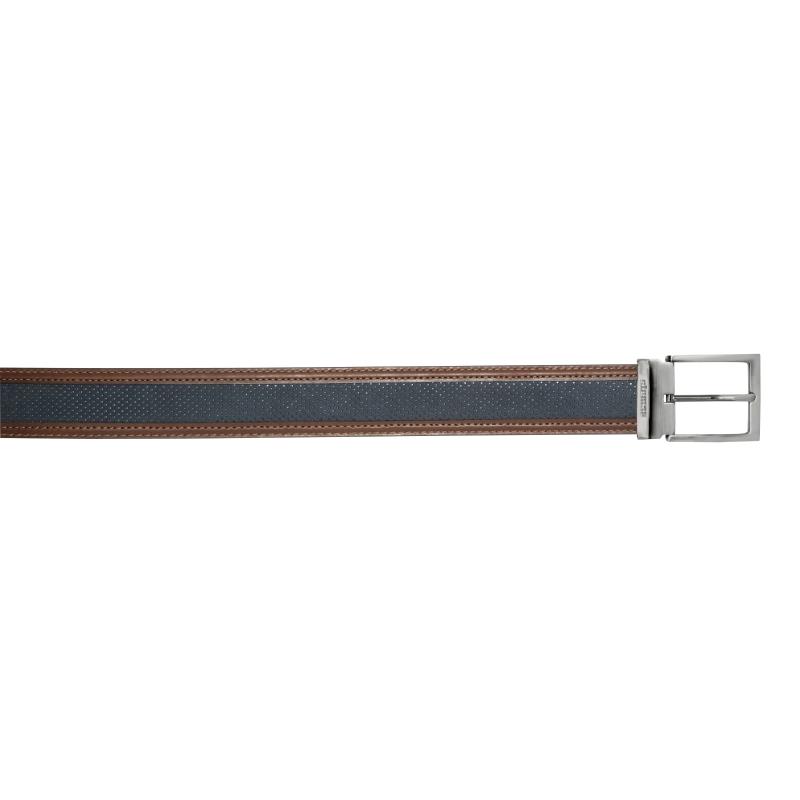 Stemar Positano Perforated Nubuck Belt Navy / Brown Image