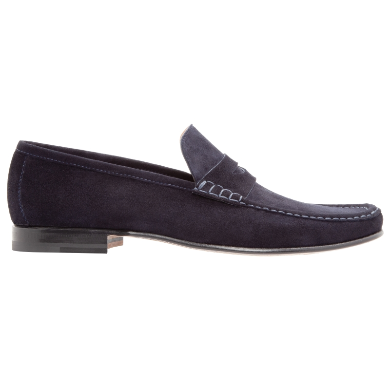 Stemar Sorrento Suede Penny Loafers Navy Image