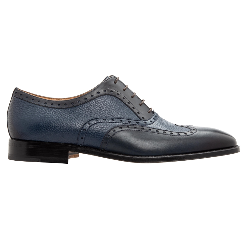 Stemar Trento Deerskin & Calf Wingtip Oxfords Blue WIDE Image