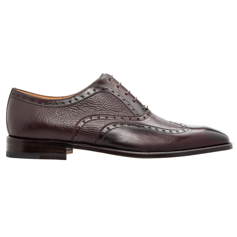 Stemar Trento Deerskin & Calf Wingtip Oxfords Burgundy WIDE Image