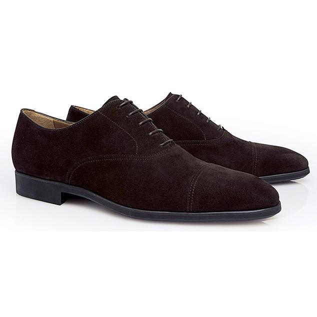 Stemar Udine Suede Cap Toe Shoes Dark Brown Image