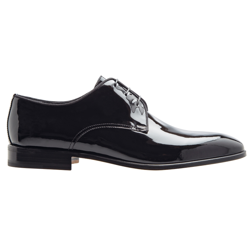 Stemar Verona Patent Leather Derby Shoes Black WIDE Image