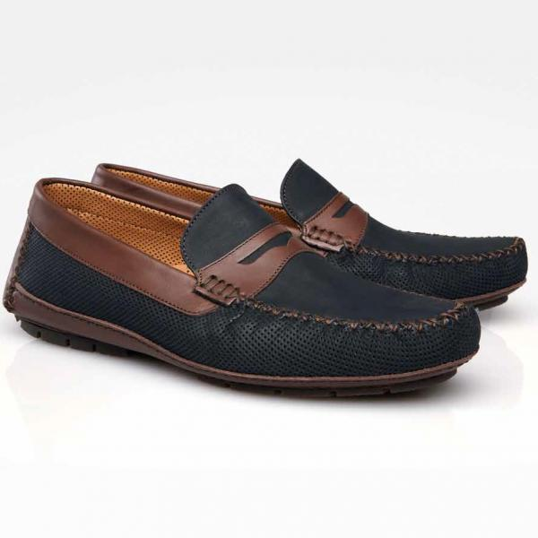 Stemar Capri 2 Perforated Nubuck Driving Shoes Black/Brown Image