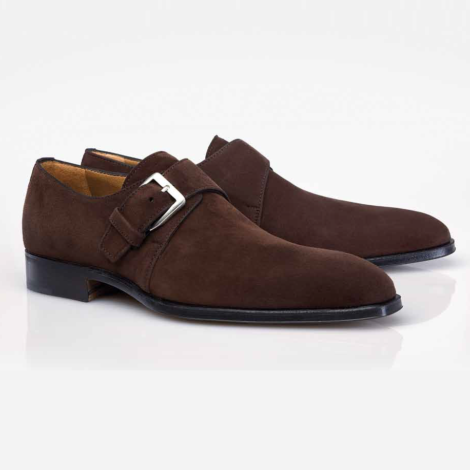Black Suede Monk Strap Shoes
