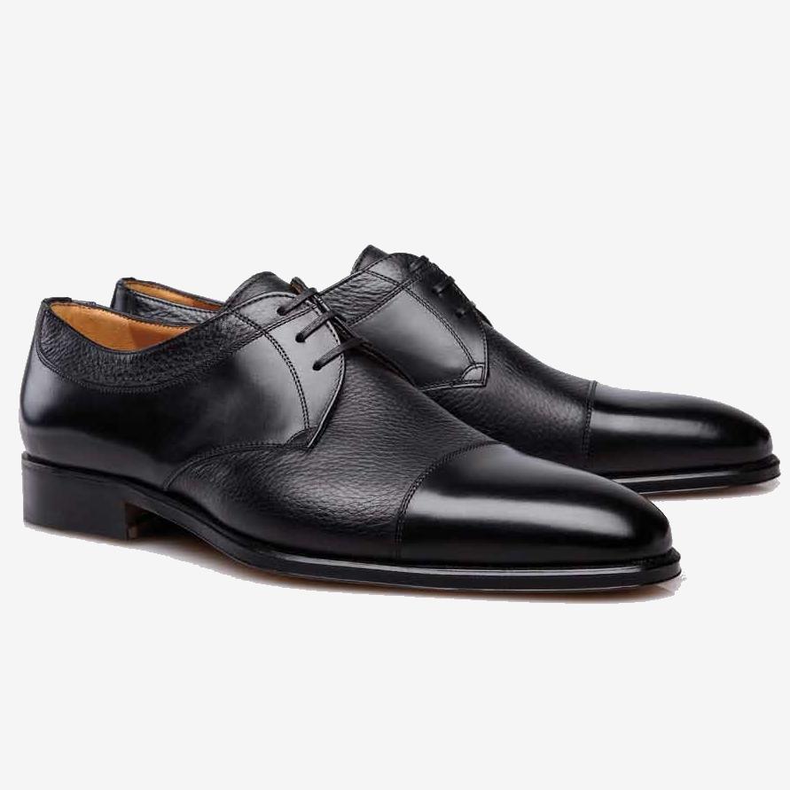 Stemar Cuneo Deerskin Cap Toe Shoes Black Image