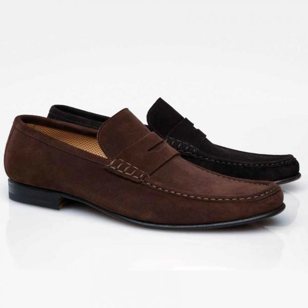 Stemar Sorrento Suede Penny Loafers Image
