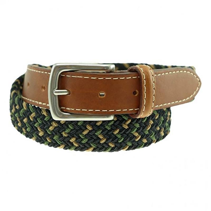 TB Phelps Cooper Elastic Braid & Bison Belt Khaki Navy Moss Image