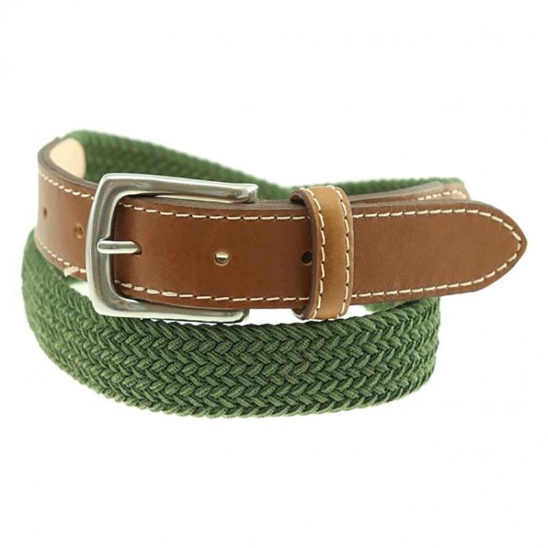 TB Phelps Cooper Elastic Braid & Bison Belt Moss Image