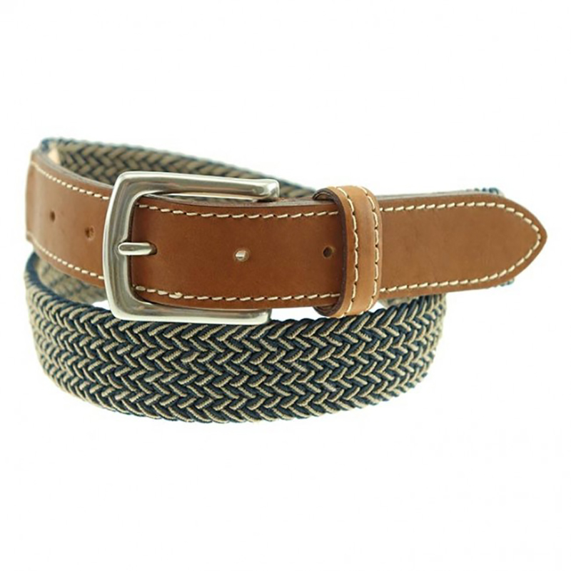 TB Phelps Cooper Elastic Braid & Bison Belt Navy Khaki Image