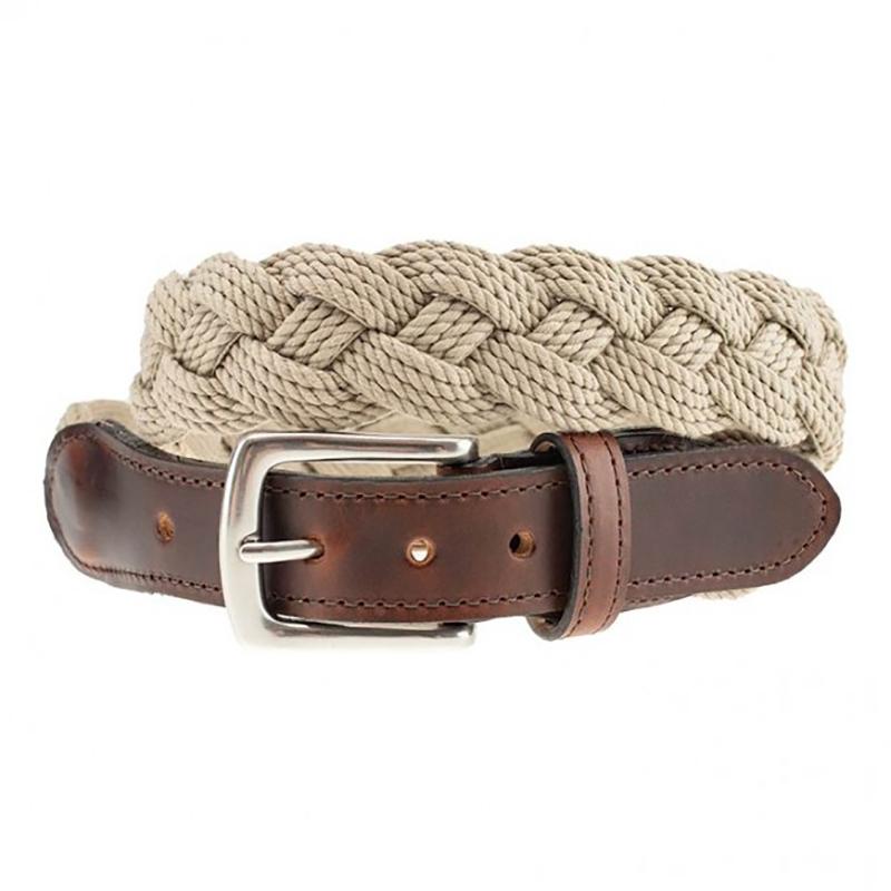 TB Phelps Savannah Cotton Braid Belt Khaki Image