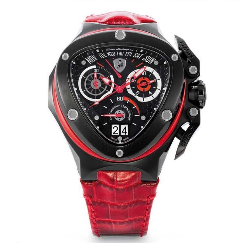 Tonino Lamborghini Spyder 3018 Chronographic Watch Black Red Mensdesignershoe Com
