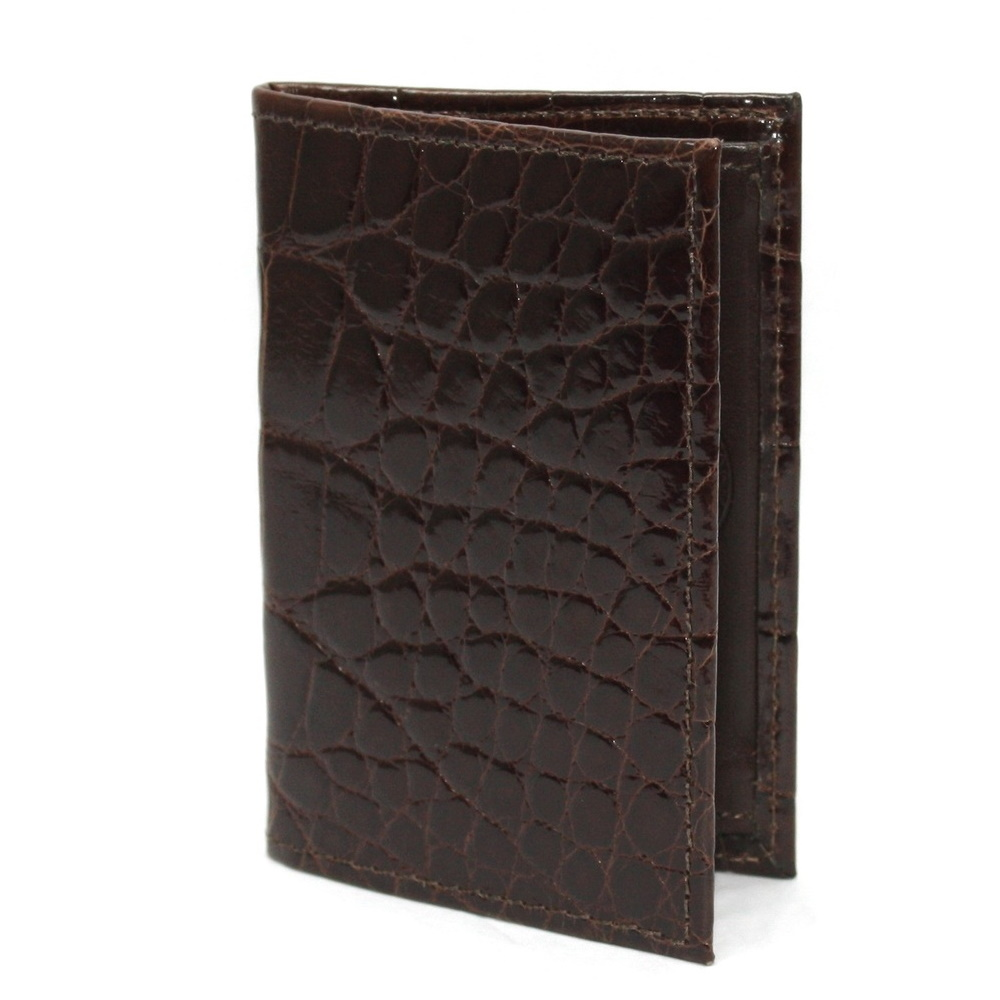 Torino Leather Genuine Alligator Gusseted Card Case - Brown Image