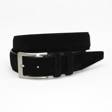 Torino Leather Italian Calf Suede Belt Black Image
