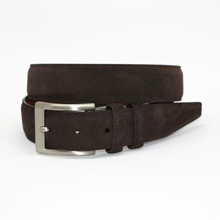 Torino Leather Italian Calf Suede Belt Espresso Image