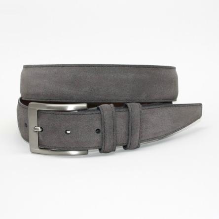 Torino Leather Italian Calf Suede Belt Gray Image