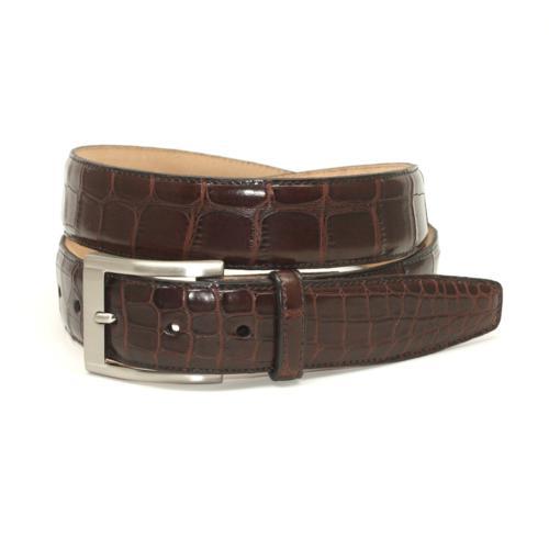 torino leather american alligator belt brown