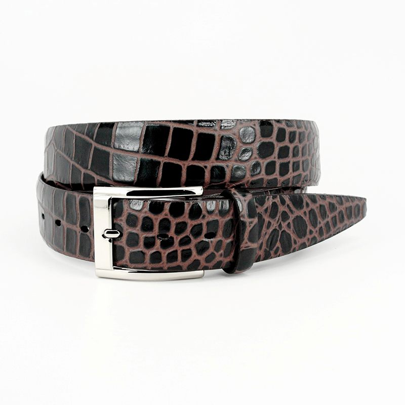 Torino Leather Bi-Color Crocodile Embossed Calfskin Belt Brown / Cognac Image