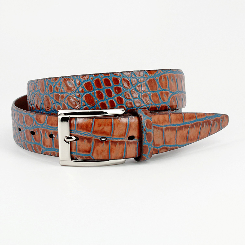 Torino Leather Bi-Color Crocodile Embossed Calfskin Belt Tan / Blue Image