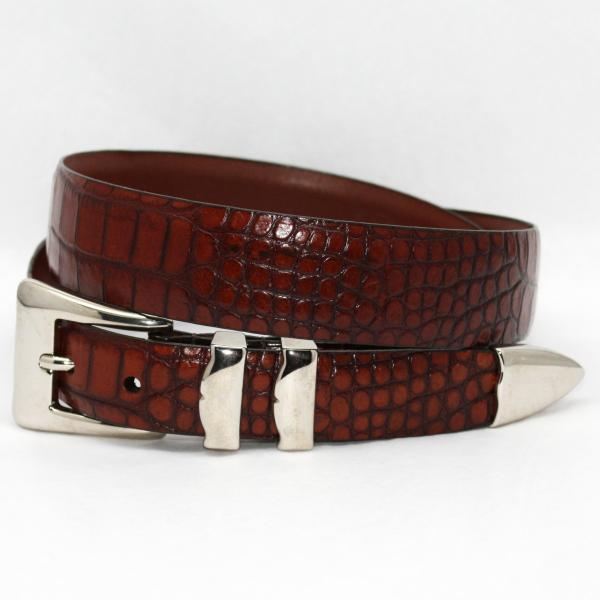 Torino Leather Alligator Embossed Calf with Nickel Set Belt - Cognac Image