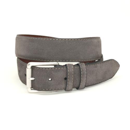 Torino Leather European Suede Belt Slate Image