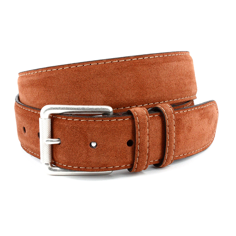 Torino Leather European Sueded Calfskin Belt Walnut Image