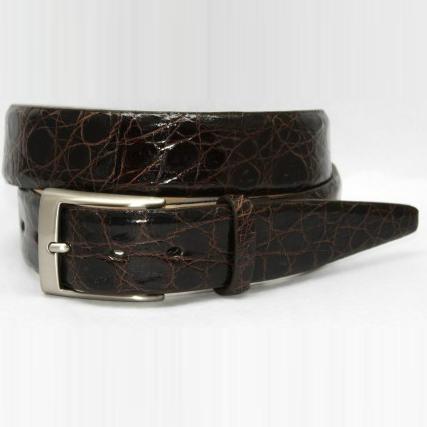 Torino Leather Glazed South American Caiman Croc Belt - Brown Image