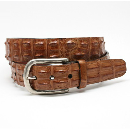 Torino Leather Hornback Crocodile Belt Tan Image