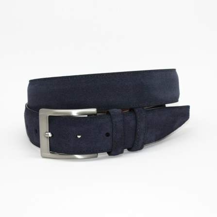 Torino Leather Italian Calf Suede Belt Navy Image