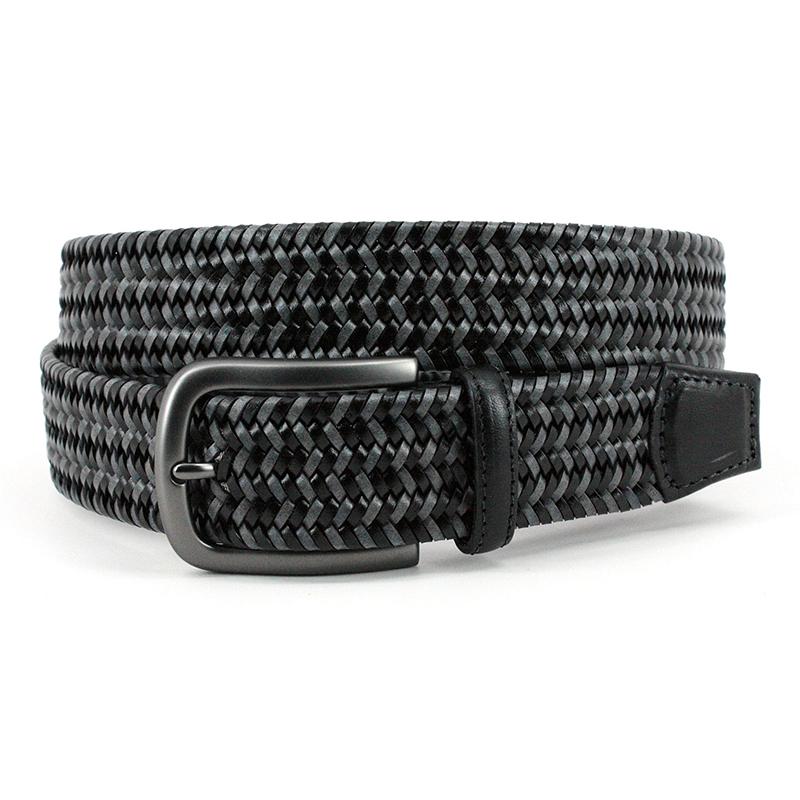 Torino Leather Italian Mini Strand Woven Stretch Leather Belt Black Grey Image