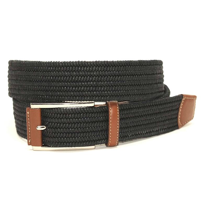 Torino Leather Italian Mini Woven Cotton Stretch Belt Black Image