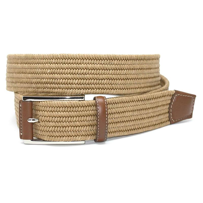 Torino Leather Italian Mini Woven Cotton Stretch Belt Khaki Image